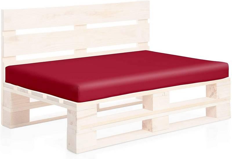 cojin rojo para sofa de palet
